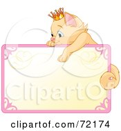 Royalty Free RF Clipart Illustration Of A Princess Kitten Draped Over The Top Of A Blank Sign