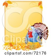 Royalty Free RF Clipart Illustration Of A Turkey Bird By A Blank Thanksgiving Sign With Autumn Leaves