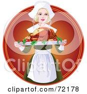 Beautiful Blond Pilgrim Serving A Thanksgiving Turkey