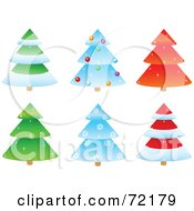 Digital Collage Of Six Sparkly Tiered Christmas Trees