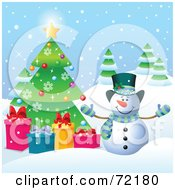Royalty Free RF Clipart Illustration Of A Festive Snowman With Presents By A Christmas Tree Outside by Pushkin