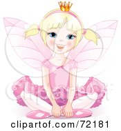 Blond Fairy Princess In Pink Sitting On The Ground