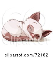 Royalty Free RF Clipart Illustration Of A Cute Siamese Kitten Curled Up And Sound Asleep