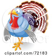 Royalty Free RF Clipart Illustration Of A Nervous Blue Turkey Bird by Pushkin