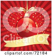 Red And Gold Snowflake Christmas Ornament Over A Bursting Starry Background With A Blank Banner