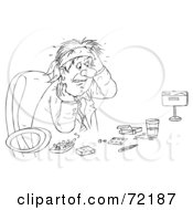 Royalty Free RF Clipart Illustration Of A Black And White Sketched Businessman Surrounded By Drugs by Alex Bannykh