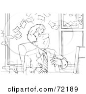 Royalty Free RF Clipart Illustration Of A Black And White Sketched Businessman Watching Money Fly Over His Head by Alex Bannykh