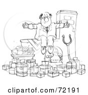 Royalty Free RF Clipart Illustration Of A Black And White Sketched Businessman Sitting On A Ledge Over Food by Alex Bannykh