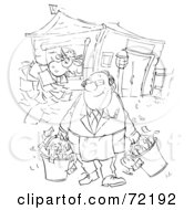 Royalty Free RF Clipart Illustration Of A Black And White Sketched Businessman Feeding Papers To His Cow And Carrying Buckets Of Money by Alex Bannykh