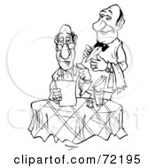 Royalty Free RF Clipart Illustration Of A Black And White Sketched Waiter Standing Behind A Food Critic As He Reads The Menu by Alex Bannykh