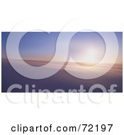 Royalty Free RF Clipart Illustration Of A Wintry Background Of The Morning Sun Rising Over A Snowy Landscape