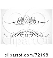 Royalty Free RF Clipart Illustration Of A Digital Collage Of Two Ornamental Black Divider Designs
