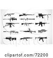 Royalty Free RF Clipart Illustration Of A Digital Collage Of Firearm Silhouettes In Black by BestVector