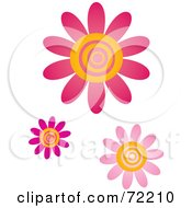 Royalty Free RF Clipart Illustration Of Pink And Yellow Swirly Center Flowers