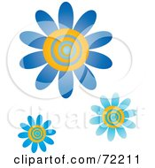 Royalty Free RF Clipart Illustration Of Blue And Yellow Swirly Center Flowers