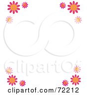 Royalty Free RF Clipart Illustration Of A White Background With Pink Daisy Flower Corners