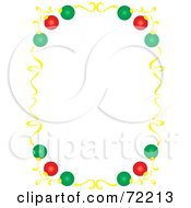 Royalty Free RF Clipart Illustration Of A White Background With A Colorful Christmas Ornament And Gold Ribbon Border