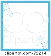 Royalty Free RF Clipart Illustration Of A White Background With Blue Trim And Snowflakes by Rosie Piter