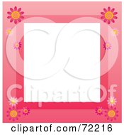 Pink Border With Daisy Flowers Around White