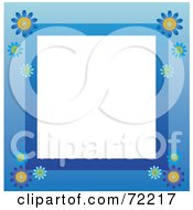 Royalty Free RF Clipart Illustration Of A Blue Border With Daisy Flowers Around White by Rosie Piter