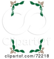 Royalty Free RF Clipart Illustration Of A White Background With Pine Cone And Branch Corners by Rosie Piter