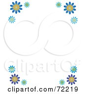 Royalty Free RF Clipart Illustration Of A White Background With Blue Daisy Flower Corners by Rosie Piter