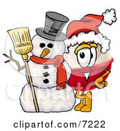 Clipart Picture Of A Fishing Bobber Mascot Cartoon Character With A Snowman On Christmas by Toons4Biz