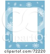 Royalty Free RF Clipart Illustration Of A Blue Snowflake Border Around Blank Rectangular Space by Rosie Piter