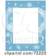 Blue Snowflake Border Around Blank Rectangular Space