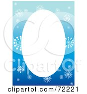 Blue Snowflake Border Around A Blank Oval Space