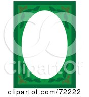 Green Pinecone Frame Border Around A Blank White Oval Space