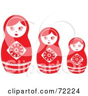 Royalty Free RF Clipart Illustration Of A Row Of Three White And Red Nesting Dolls by Rosie Piter