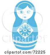 Royalty Free RF Clipart Illustration Of A White And Blue Nesting Doll by Rosie Piter