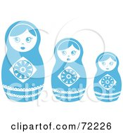 Royalty Free RF Clipart Illustration Of A Row Of Three White And Blue Nesting Dolls by Rosie Piter