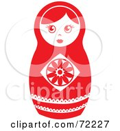 Royalty Free RF Clipart Illustration Of A White And Red Nesting Doll
