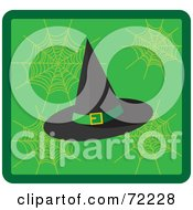 Black Witch Hat On A Green Web Background