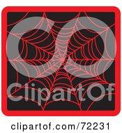 Red Creepy Spider Web On Black