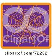 Orange Creepy Spider Web On Purple