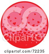 Royalty Free RF Clipart Illustration Of A Pink Circle With A Swarm Of Red Hearts