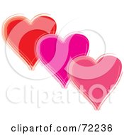 Royalty Free RF Clipart Illustration Of Three Floating Red Purple And Pink Hearts