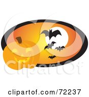 Halloween Pumpkin By An Orange Oval With Vampire Bats And A Full Moon