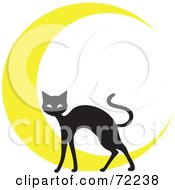 Royalty Free RF Clipart Illustration Of A Black Cat In Front Of A Yellow Crescent Moon