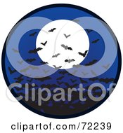 Royalty Free RF Clipart Illustration Of A Swarm Of Bats In A Night Sky With A Full Moon