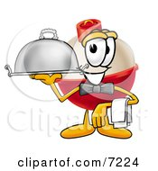Clipart Picture Of A Fishing Bobber Mascot Cartoon Character Serving A Thanksgiving Turkey On A Platter by Toons4Biz