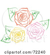 Royalty Free RF Clipart Illustration Of Yellow Pink And Red Roses In Full Bloom With Leaves