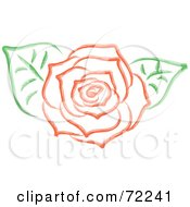 Royalty Free RF Clipart Illustration Of A Red Rose In Full Bloom And Two Green Leaves by Rosie Piter