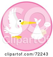 Royalty Free RF Clipart Illustration Of A Pink Circle With A Stork And A Sleeping Baby Girl by Rosie Piter #COLLC72243-0023