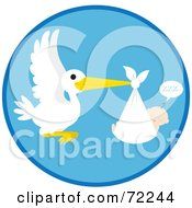 Royalty Free RF Clipart Illustration Of A Blue Circle With A Stork And A Sleeping Baby Boy