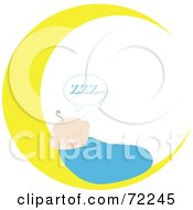 Royalty Free RF Clipart Illustration Of A Baby Boy Sleeping On A Crescent Moon