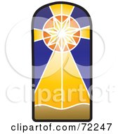 Royalty Free RF Clipart Illustration Of A Shining Star Stained Glass Window by Rosie Piter